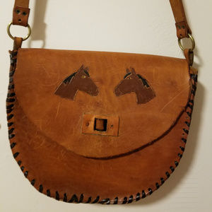 Vintage Leather Purse with Horse Embossment